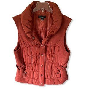 Tribal Womens Vest Jacket Red Snap Lined Collared
